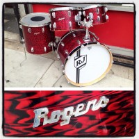 1960's Rogers Holiday 4pc drum kit in red onyx. (Dayton) - $795 Includes 14x22, 16x16, 9x13, & 8x12. Mounts replaced & missing bottom hoops.