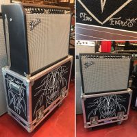Fender Twin Reverb '65 re-issue Made in USA w/pinstriped flight case hand painted by Von Franco - $1,595