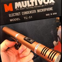 Early 1980's Multivox TL-51 uni-directional cardioid condenser mic w/clip & case - $100