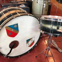 """1938 Leedy 13""""x28"""" Spartan bass & matching 6.5""""x14"""" Broadway Standard snare in original duco finish - $725 for the pair. Bass drum comes with original case."""